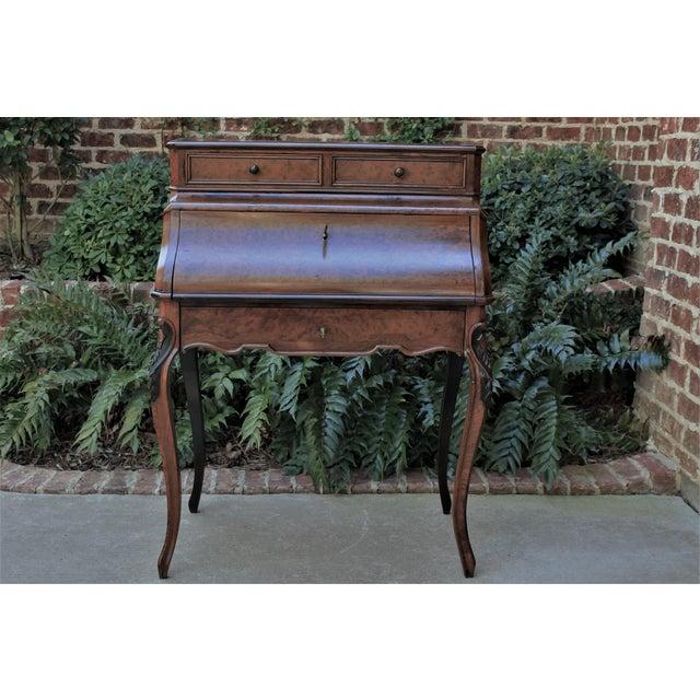 Antique French Birds Eye Maple Fall Front Secretary Desk Bureau For Sale - Image 9 of 13