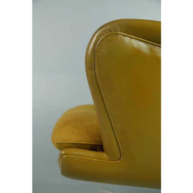 Dramatic Executive Wingback Chair and Ottoman by George Kasparian, Circa 1960 For Sale - Image 9 of 11