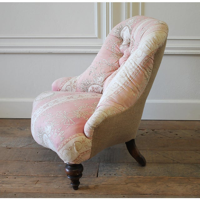 19th Century Napoleon III Button Tufted Chair For Sale In Los Angeles - Image 6 of 12