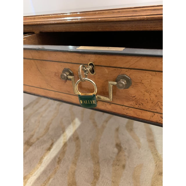 Vintage Mahogany Writing Desk With Black Leather Top For Sale - Image 11 of 13