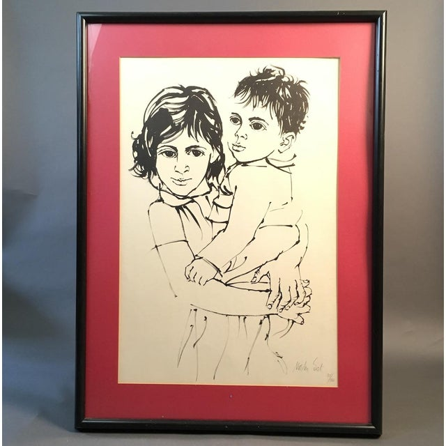"Vintage Israeli Art ""Brother and Sister"" Moshe Gat Signed and Numbered Print, 1960s For Sale In Boston - Image 6 of 6"