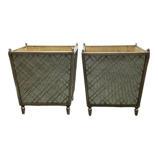 Silver Lattice Metal Mirrored Planters- a Pair For Sale