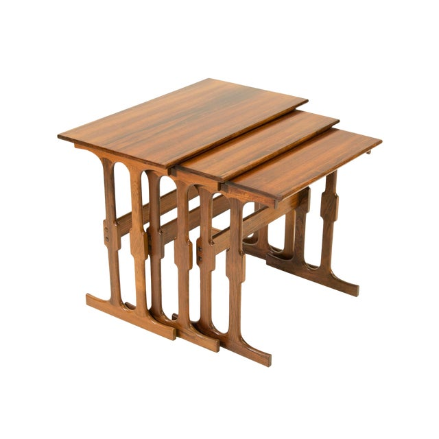 Cfc Silkeborg Rosewood Nesting Tables From Denmark - Set of 3 For Sale