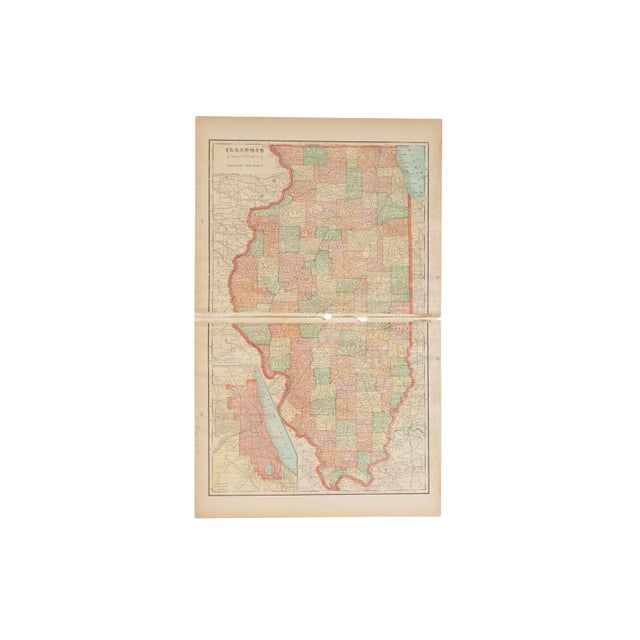 Cram's 1907 Map of Illinois For Sale In New York - Image 6 of 6