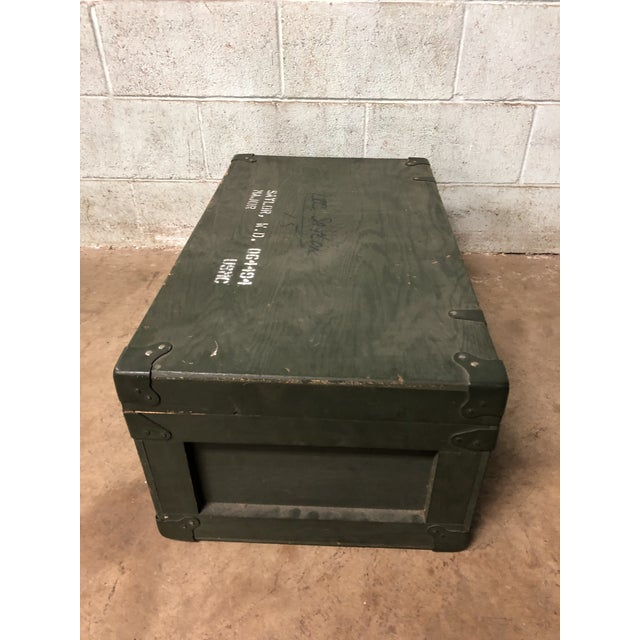 Vintage Industrial Green Wood Military Foot Locker Trunk W Tray For Sale - Image 9 of 12