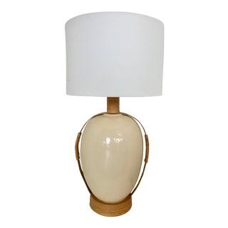 Vintage Ceramic & Rattan Table Lamp For Sale