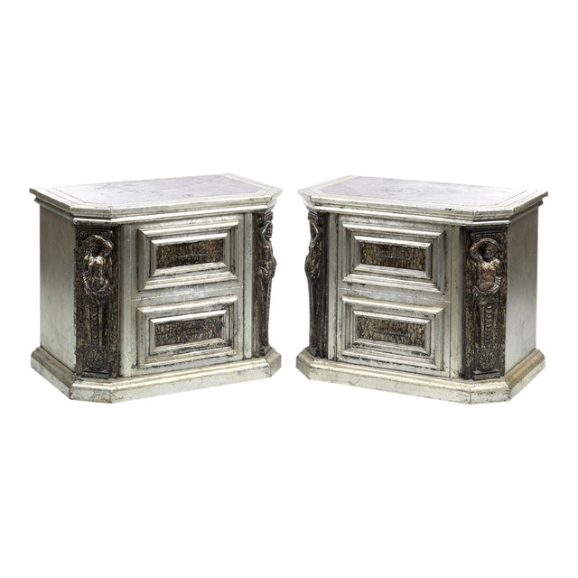 Phyllis Morris Oil Drop Lacquer & Silver Leaf Cabinets (2), Circa 1970 - Image 1 of 8