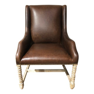 20th Century Spanish Lyndall Matt Tucker Brown Leather Chair For Sale
