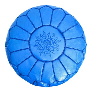 Moroccan Handmade Blue Leather Pouf or Ottoman For Sale