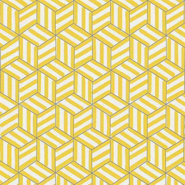 Contemporary Schumacher Tumbling Blocks Geometric Stripes Wallpaper in Citron Yellow - 2-Roll Set (9 Yards) For Sale - Image 3 of 3
