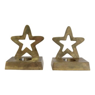 Pair of Brass Star Candle Holders For Sale