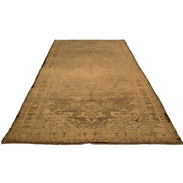 Contemporary Antique Persian Malayer Rug With Ivory & Brown Floral Details on Beige Field- 5′4″ × 14′4″ For Sale - Image 3 of 4