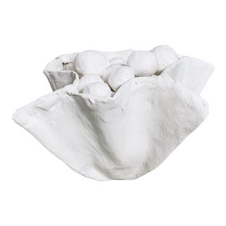 The Small Pinch Decorative Bowl in White Plaster For Sale