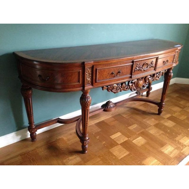 Queen Anne Style Walnut Veneered Console Table - Image 3 of 6
