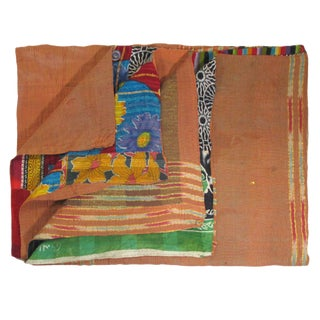 Peach and Patchwork Vintage Kantha Quilt