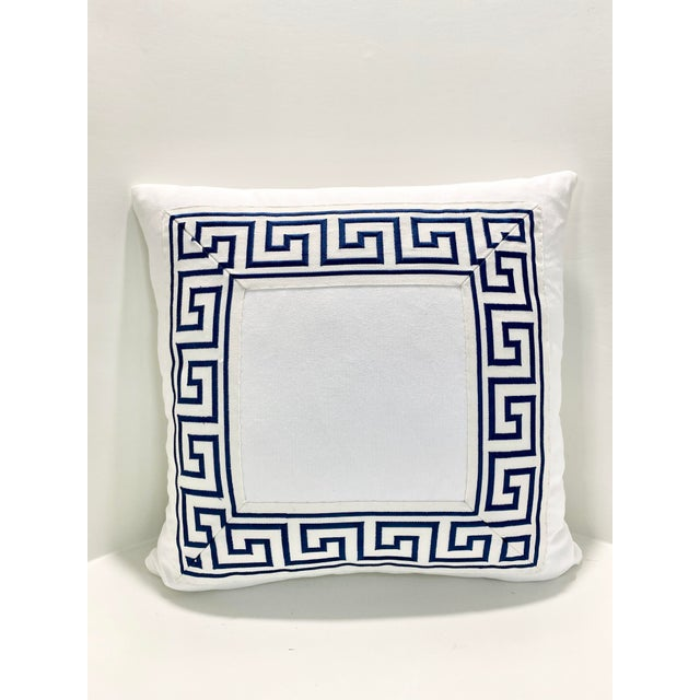 """2010s Contemporary Square Custom Made White With Navy Greek Key Trim Pillow - 21"""" For Sale - Image 5 of 7"""