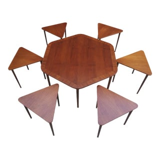 Rare Mid Century Modern Hexagon Coffee Table & Nesting Stacking Tables - a Set For Sale