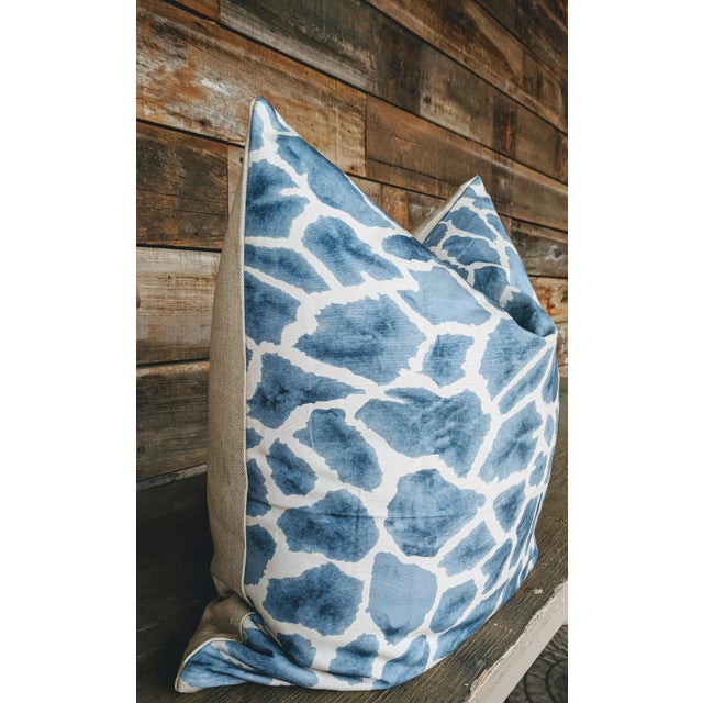 Abstract Thibaut Fabric Makena Giraffe Pillow Cover For Sale - Image 3 of 4