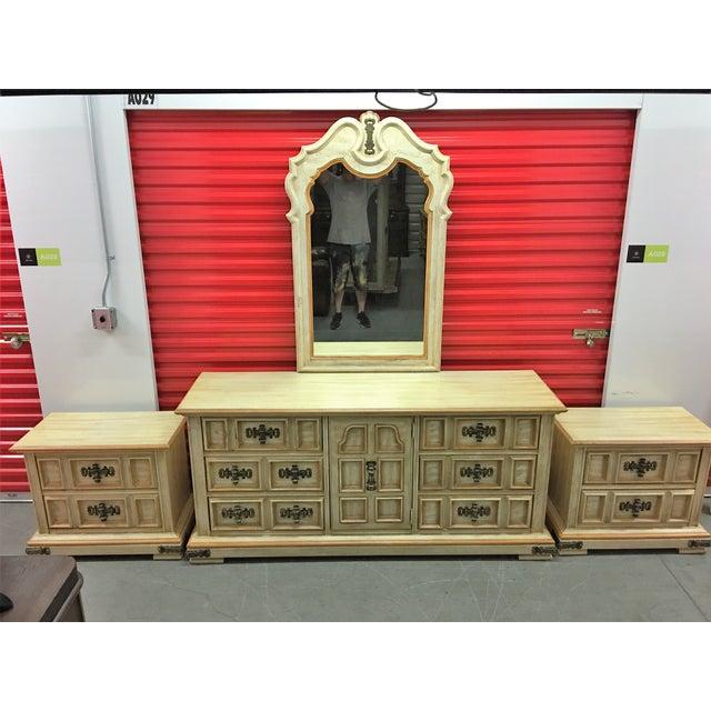 Vintage Stanley Solid Wood Dresser with Mirror - Image 3 of 10