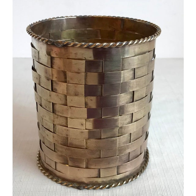 Vintage Brass Woven Pencil Can For Sale - Image 4 of 7