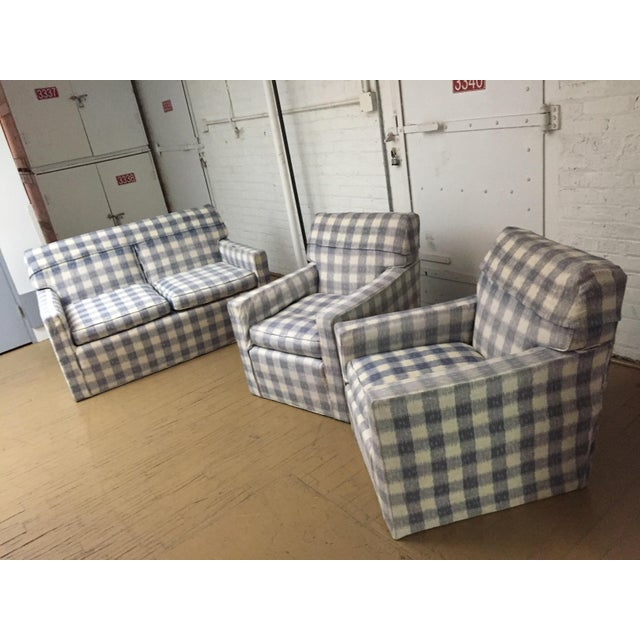 Mid-Century Brunschwig & Fils Upholstered Down Filled Arm Chairs For Sale - Image 9 of 11