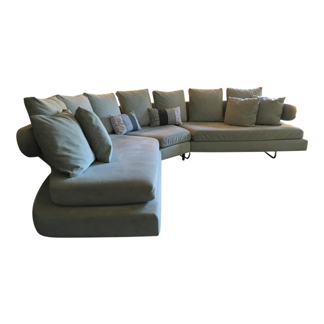 Vintage Mid Century Modern Curved Sectional Couch B&b Italia Style For Sale