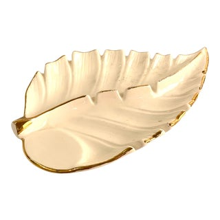 White and Gold Hollywood Regency Ashtray Catchall For Sale