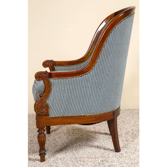 Fabric Pair Mahogany Empire Style Armchairs For Sale - Image 7 of 9
