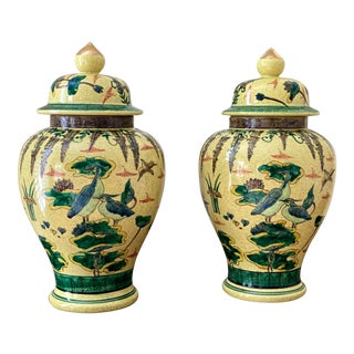 Chinoiserie Yellow Ginger Jars - a Pair For Sale