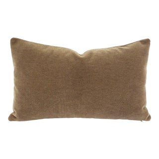 "Maharam Mohair Supreme in Stonehenge Lumbar Pillow Cover - 12"" X 20"" Solid Stone Brown Mohair Velvet Rectangle Cushion Case For Sale"