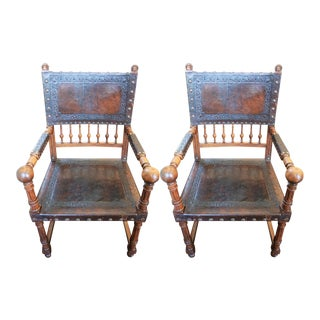 Jacobean Style Walnut and Leather Fauteuils - a Pair For Sale