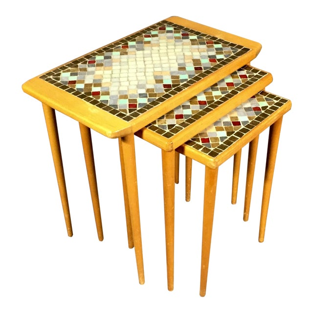 1960s Birch & Glass Mosaic Nesting Tables, Set of 3 For Sale