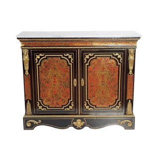 Boulle Work Cabinet with Red Tortoise / Louis XVI Style For Sale