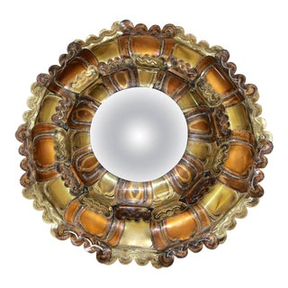 Brutalist Mixed Metal Sunburst Convex Wall Art Mirror
