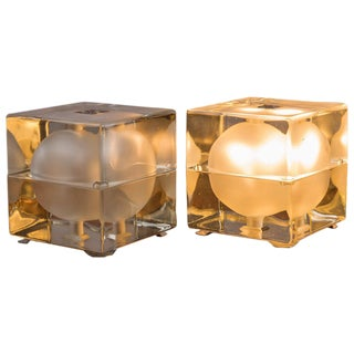 """Pair of """"Cubosfera"""" Table Lamps by Alessandro Mendini for Fidenza Vetraria"""