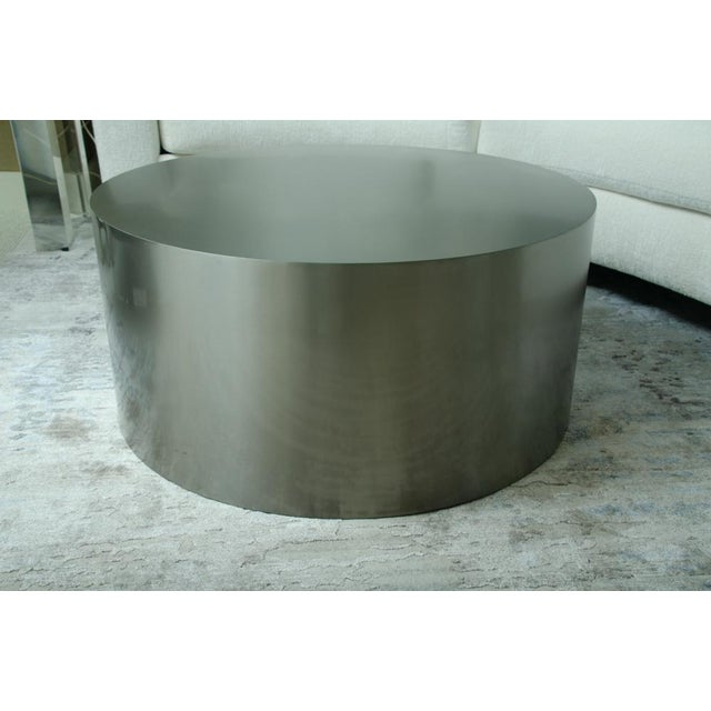 Mid-Century Modern Milo Baughman Brushed Steel Drum Table For Sale - Image 3 of 4