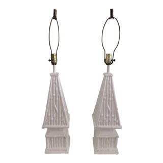 Ceramic Faux Bamboo Table Lamps - a Pair For Sale