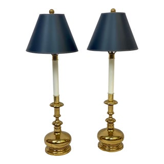Vintage Mid Century Stiffel Brass Bottle Buffet / Table Lamps - a Pair For Sale