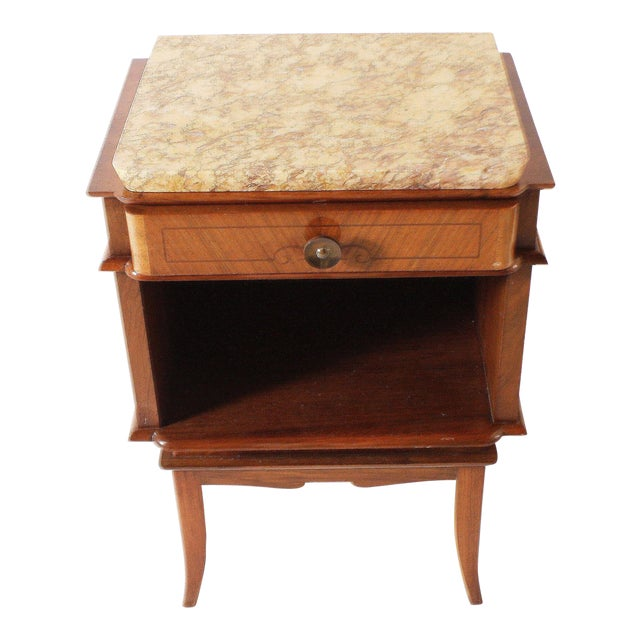 Pair of Art Deco Side Tables With Marble Top, C. 1930 For Sale