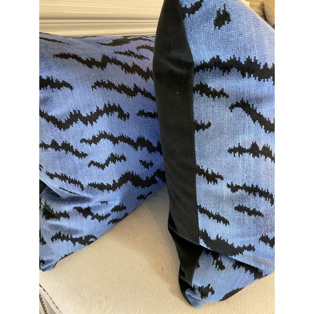 """Custom pair of 18""""x24"""" pillows covered in Scalamandre """"Tigre Blues &Black"""" and backed in a coordinating black velvet...."""