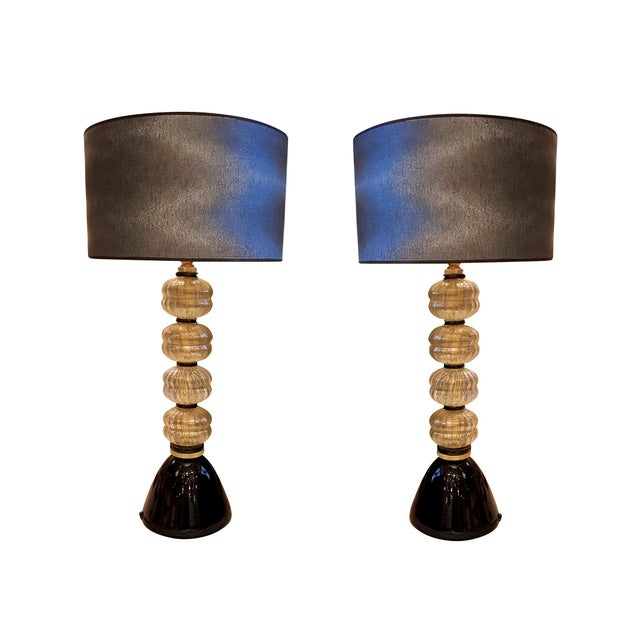 Brass Mid Century Modern Gold/Black Murano Glass Lamps, Venini Style - a Pair For Sale - Image 7 of 7