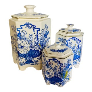 1920s Cottage Delft Blue Transferware Canister Set - Set of 3 For Sale