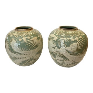 Asian Celadon Ginger Jar Vases - a Pair For Sale