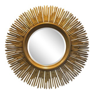 Contemporary Gilded Wood Sunburst Mirror