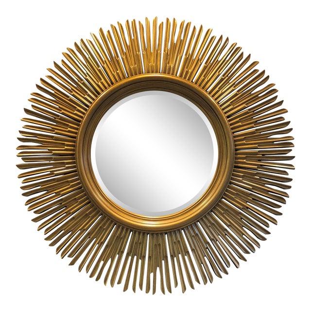 Contemporary Gilded Wood Sunburst Mirror For Sale