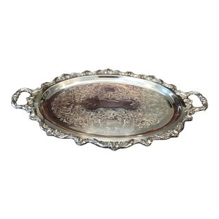 Vintage Large Baroque Silver Plate Holloware Footed Waiter Tray by Poole For Sale