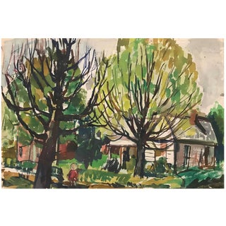 Mid-Century Watercolor 1967 For Sale