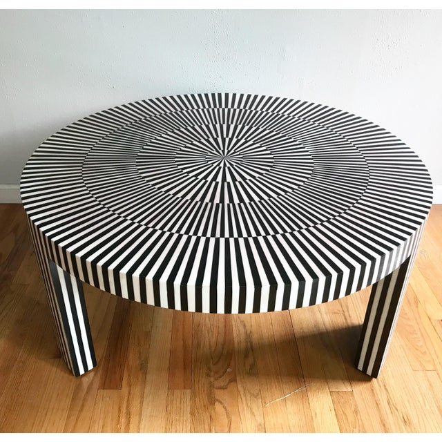 "Made Goods ""Carlatta"" Coffee Table Tessellated Black and White Resin For Sale - Image 11 of 11"