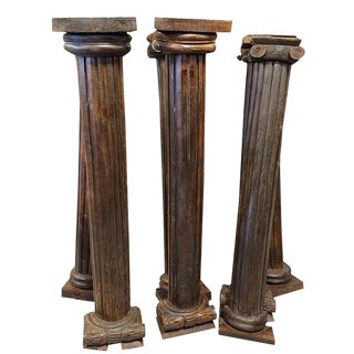 Antique 19th Century Indian Teak Wood Columns Pilasters - Set of 6