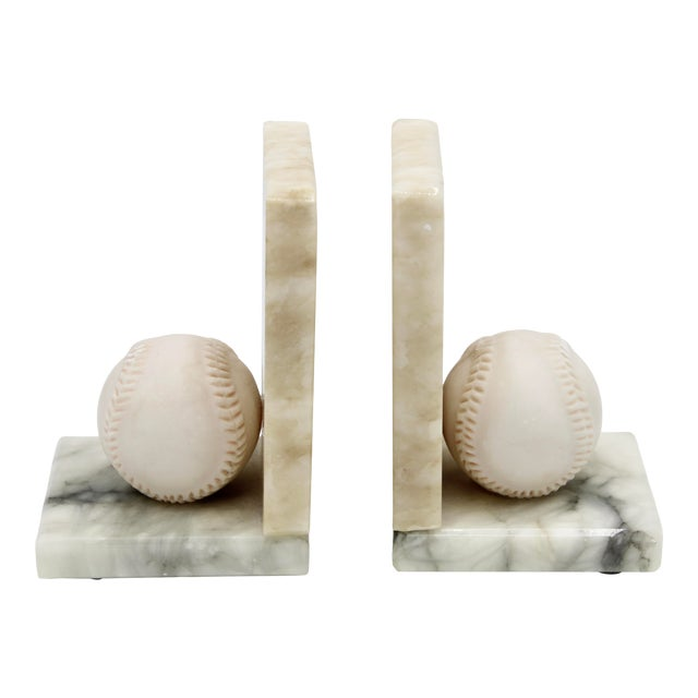 Mid Century Italian Alabaster Baseball Bookends For Sale